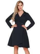 Navy blue Long Sleeve Solid One Button Dress