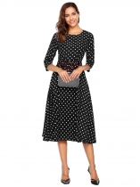Women Fashion O-Neck 3/4 Sleeve Dot Party A-Line Dress with Belt