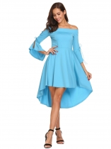 Blue Women Off Shoulder Flare Sleeve Asymmetrical Hem High Low Solid Dress