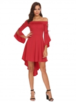 Červená Women Off Shoulder Flare Sleeve Asymmetrical Hem High Low Solid Dress