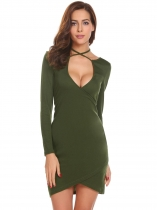 Army green Women Halter V-Neck Long Sleeve Faux Wrap Solid Going Out Dress