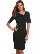 Black Women Sexy Half Sleeve Solid Oblique V Neck Midriff Business Bodycon Pencil Dress