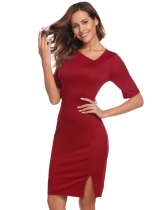 Wine red Women Sexy Half Sleeve Solid Oblique V Neck Midriff Business Bodycon Pencil Dress
