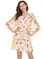 Béžová Women Lace Up O-Neck Butterfly Sleeve Floral Fit and Flare Chiffon Casual Dress