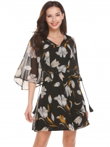 Yellow Women Lace Up O-Neck Butterfly Sleeve Floral Fit and Flare Chiffon Casual Dress