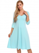 Baby Blue V-Neck 3/4 Sleeve Solid Slim Fit Dress