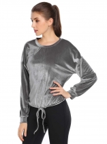 Grey Velvet Solid Drawstring Hem Long Sleeve Loose Tops