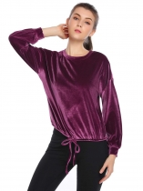 Purple Velvet Solid Drawstring Hem Long Sleeve Loose Tops