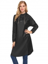 Black Women Casual Drawstring Hooded Long Sleeve Elastic Cuffs Raincoat