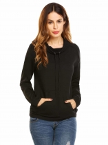 Black Women Casual Long Sleeve Solid Pullover Pocket Hoodie