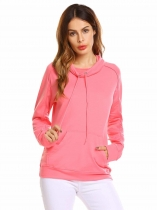 Rose Pink Women Casual Long Sleeve Solid Pullover Pocket Hoodie