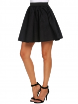 Black Elastic Waist Pleated Solid Mini Skirts