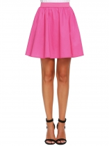 Pink Elastic Waist Pleated Solid Mini Skirts