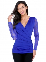 Royal Blue Women Casual Crossing Wrap High V-Neck Long Sleeve Lace Patchwork Blouse T-shirt