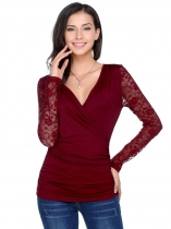 Vin rouge Vin rouge Femmes Casual Crossing Deep V-Neck Long Sleeve Lace Patchwork Blouse T-shirt