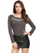 Dark gray Long Sleeve Mesh Patchwork Blouse Tops
