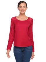 Wine red Lace Patchwork Chiffon O-Neck Long Sleeve Tops