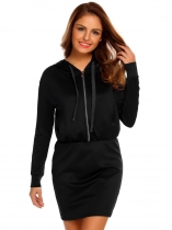 Black Hooded Long Sleeve Zipper Mini Pencil Slim Dress