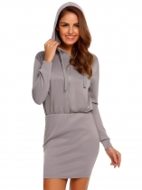 Dark gray Hooded Long Sleeve Zipper Mini Pencil Slim Dress