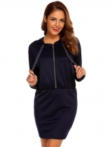 Navy blue Mode féminine à capuche manches longues Solid Zipper Hoodie Mini Crayon Slim Dress