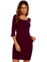 Wine red Women Fashion V-Neck 3/4 Sleeve Solid Bodycon Slim Pencil Dress