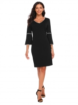 Noir Femmes Casual V Neck 3/4 Flare Sleeve Contraste Color Patchwork Slim Dress