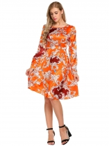 Orange Long Sleeve Backless Floral O-Neck Dress