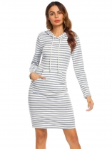 Gray Women's Hooded Long Sleeve Striped Slim Fit Casual Hoodie Dress with Pocket