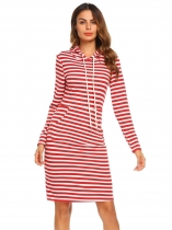 Wine red Women's Hooded Long Sleeve Striped Slim Fit Casual Hoodie Dress with Pocket