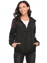 Black Women Long Sleeve Hooded Waterproof Raincoat Lightweight Activewear Jacket