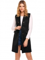 Black Solid Turn-down Collar Buttoned Pocket Split Hem Vest