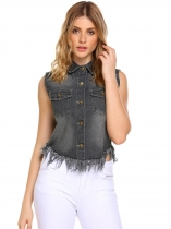 Grey Solid Turn-down Collar Sleeveless Button Flap Pockets Denim Vest