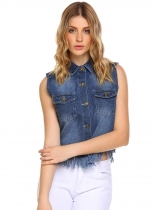 Navy blue Solid Turn-down Collar Sleeveless Button Flap Pockets Denim Vest