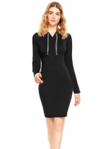 Black Long Sleeve Solid Hooded Dress