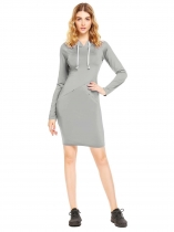 Grey Long Sleeve Solid Hooded Dress