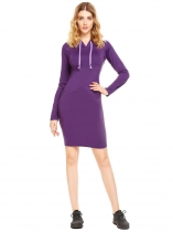 Purple Long Sleeve Solid Hooded Dress