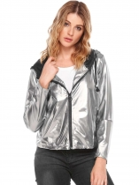 Silver Hooded Long Sleeve Solid Glitter Coat Jacket