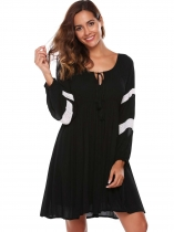 Black Lace Patchwork Tie-Neck Loose Dress