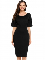 Noir Femmes Classic Split demi-manche solide O Neck Party Soirée Bodycon Pencil Dress
