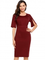 Wine red Half Sleeve Solid O Neck Split Hem Dress