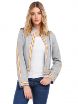 Grey Military Style Open Front Long Sleeve Jacket