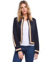Navy blue Military Style Open Front Long Sleeve Jacket