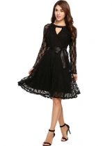 Black Long Sleeve Lace Solid Belted A-Line Dress
