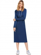 Royal Blue Long Sleeve Solid Hooded Pocket Drawstring Straight Dress