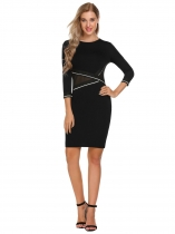 Noir Femmes 3/4 Sleeve Patchwork O Neck Colorblock Wear to Work Cocktail Party Bodycon Pencil Dress