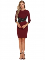 Vin rouge Vin Rouge Rouge Femmes 3/4 manches Patchwork O Cou Colorblock Wear to Work Cocktail Party Bodycon Pencil Dress