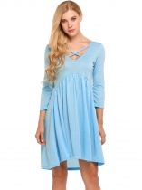 Light blue Criss Cross V Neck 3/4 Sleeve Irregular Solid Dress