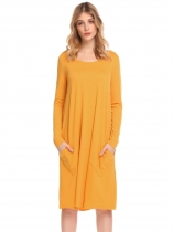 Golden Yellow Women Casual Long Sleeve Pocket Solid Tunic Loose T-Shirt Dress
