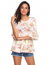 Beige 3/4 Flare Sleeve Floral Print Slim Fit Summer Peplum Top
