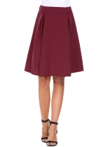 Wine red High Waist Solid Back Zip Pleated Skirt
